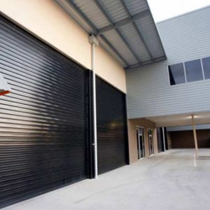 A Grade Garage Doors Perth | Shutters & Gates - Black industrial roller door in Perth, WA