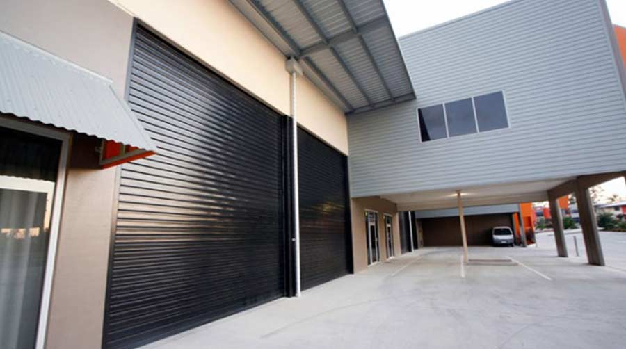 black industrial roller door in Perth